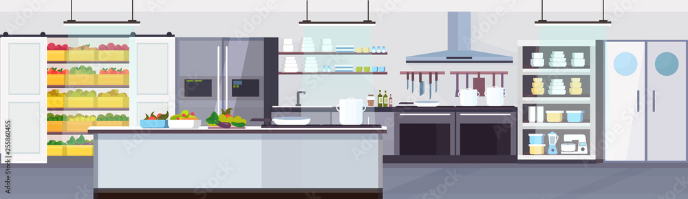 modern commercial restaurant kitchen interior with healthy food fruits and vegetables cooking and culinary concept empty no people horizontal banner flat <span>plik: #255860455 | autor: mast3r</span>