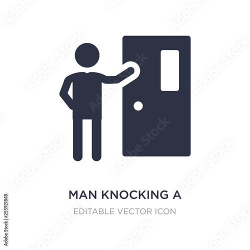 Leinwand Poster man knocking a door icon on white background