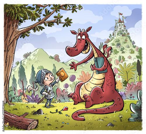Fototapeta dragon y principe con libros y castillo