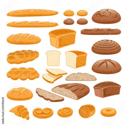 Valokuvatapetti Bread icons set. Vector bakery products.