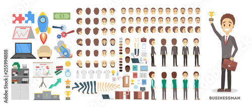 Fotografie, Obraz Businessman character set for the animation with various views