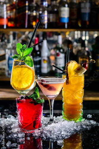 beautiful bright cocktails on the bar in the nightclub