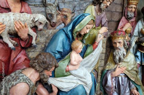Nativity Scene, altarpiece in the church of Saint Matthew in Stitar, Croatia Fototapet