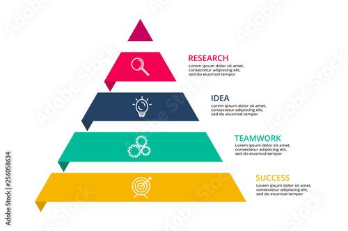 Fototapeta Vector pyramid up arrows infographic, diagram chart, triangle graph presentation