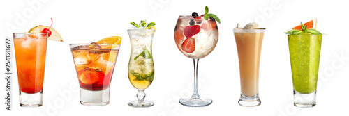 Set of refreshing cocktails decorated with berries and fruits on a white background. Isolated.