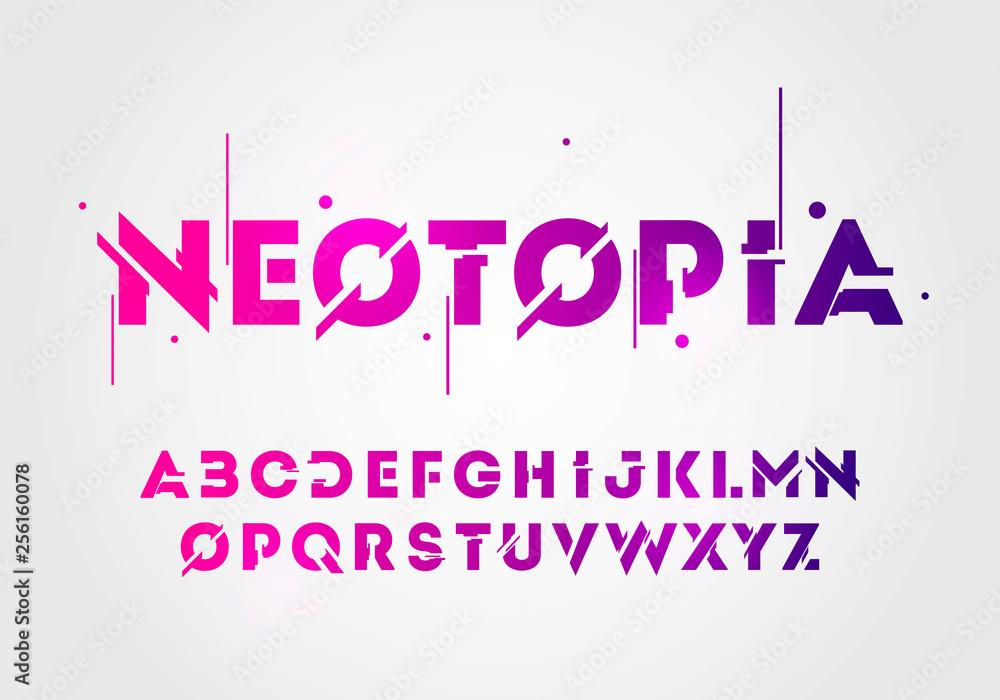 Wektor ilustracja streszczenie technologii neon czcionki i alfabetu. wzory logo z efektem techno. Koncepcja przestrzeni cyfrowej typografii. <span>plik: #256160078 | autor: HaseHoch2</span>