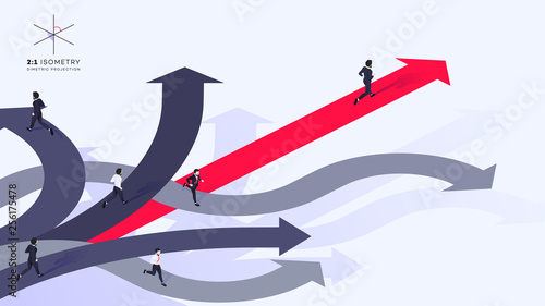 Photo Conceptual Isometric Better Choice Vector Illustration