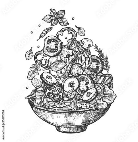 Wallpaper Mural Vertical flying healthy salad ingredients in dish