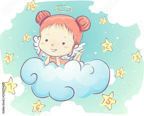 Stampa su Tela Kid Girl Angel Clouds Stars Numbers Illustration