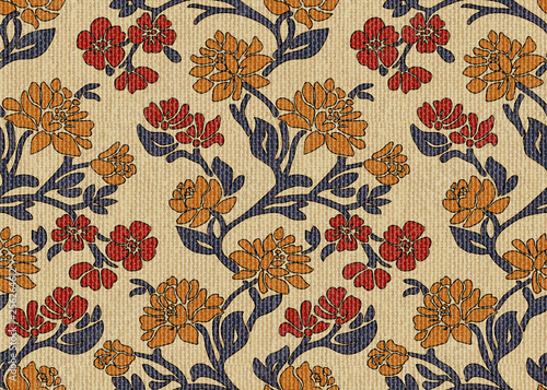 Fotografie, Tablou Vector seamless pattern victorian vintage hand-drawn floral upholstery fabric