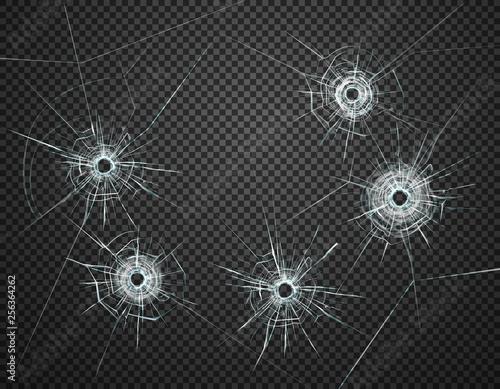 Obraz na plátně Bullet Holes Glass Transparent Realistic