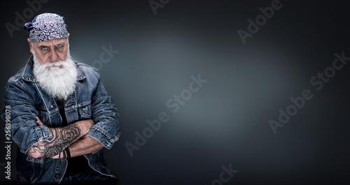 Fotografia, Obraz studio portrait of a senior hipster with a long white beard