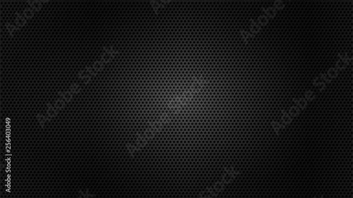 Black metal texture steel background. Perforated sheet metal.