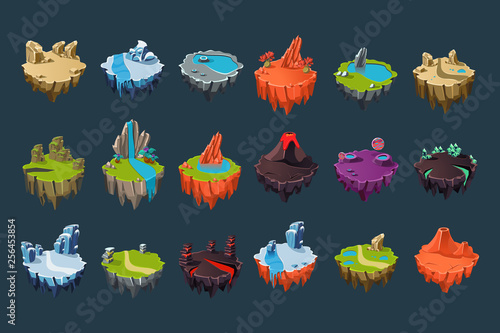 Cartoon isometric islands with volcanoes, lakes, waterfalls, glaciers, craters, crystals and rocks Fototapete