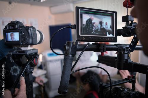 Canvas-taulu Video cameras on the set, backstage movie scenes