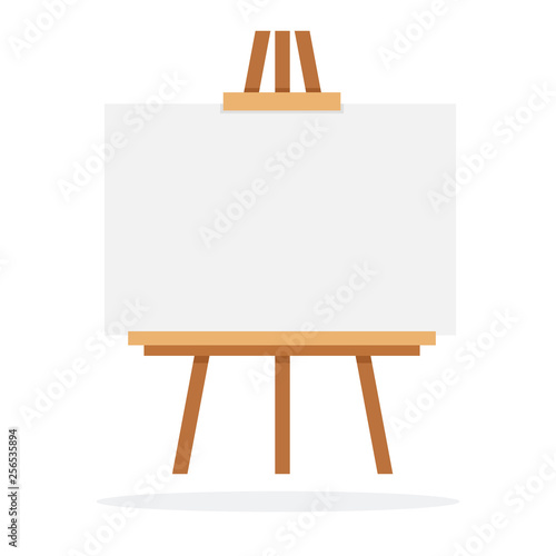 Fotografiet Wooden easel with whiteboard vector flat isolated