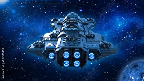 Платно Spaceship traveling in deep space, alien UFO spacecraft flying in the Universe w