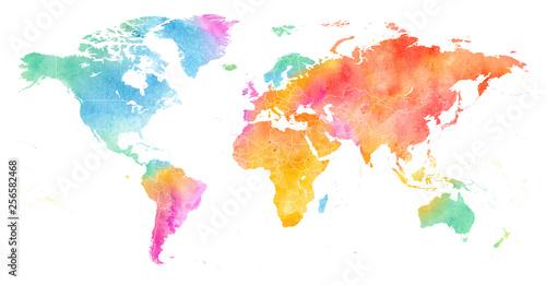 Szczegółowa, wielobarwna, akwarelowa mapa świata z obramowaniami.
