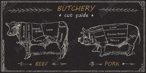 Foto Butchers meat cuts chart engraved diagram