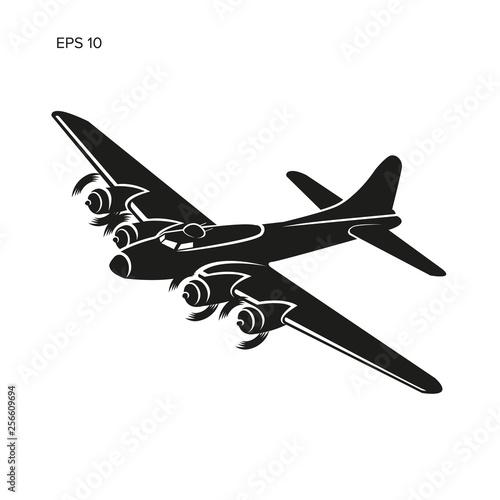 Fényképezés Vintage world war 2 legendary heavy bomber vector