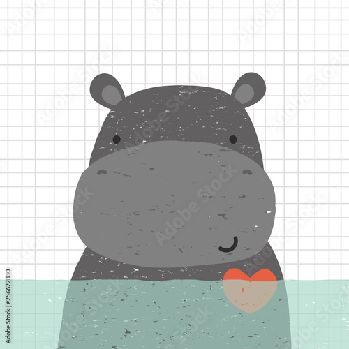 Fotografia Cute hippopotamus in water