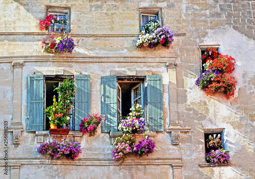 Typical facade of the old Provencal retro house with windows and wooden shutters фототапет