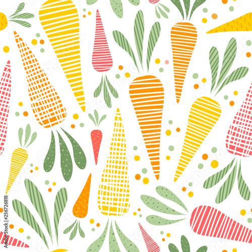 Ταπετσαρία τοιχογραφία Seamless vector pattern with cute carrots