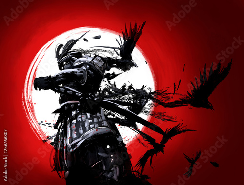 Photo The samurai is set against a backdrop of bloody sunset