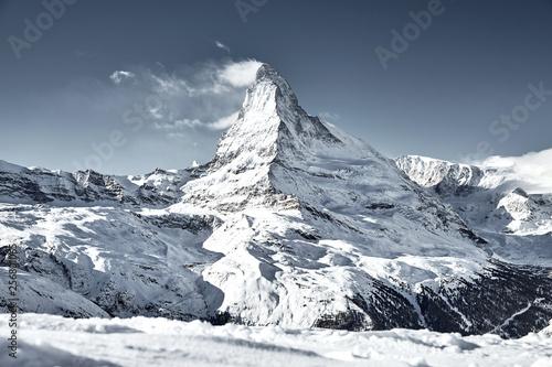 Canvas Print matterhorn mountain covered by cloud like a flag