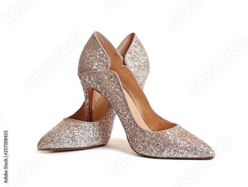 Obraz na plátně Stylish high heel shoes on white background