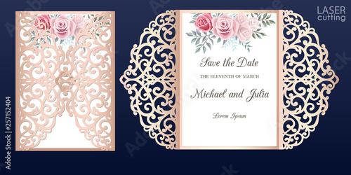 Valokuvatapetti Laser cut wedding invitation card template vector