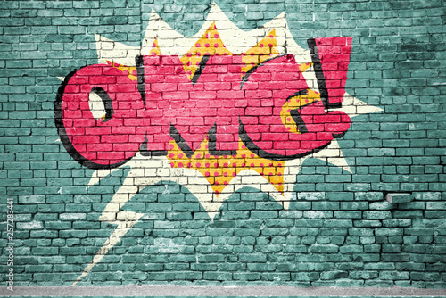 Fotografering OMG Comic  Ziegelsteinmauer Graffiti