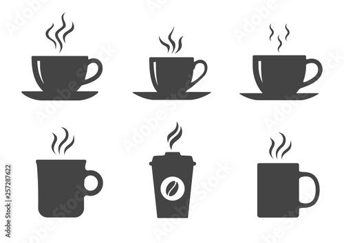 Carta da parati Coffee cup icons set. Vector