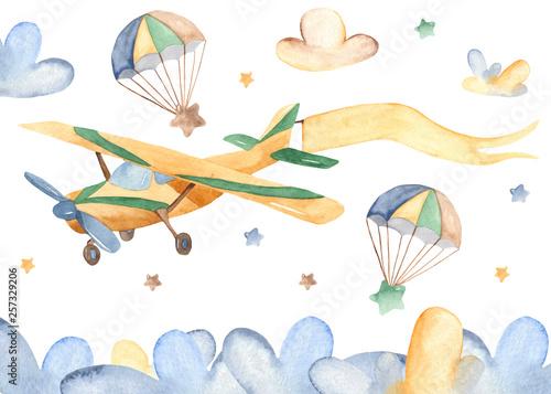 Akwarela karta z ładny samolot i chmury. Ilustracja dziecka na chrzciny, przedszkole, karty, zaproszenia.