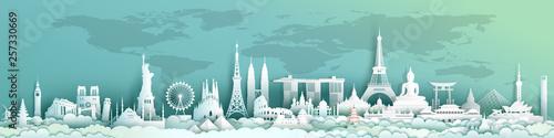 Obraz na płótnie Travel landmarks world with world map background.