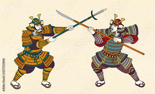 Stampa su Tela Two Japanese samurai fighting