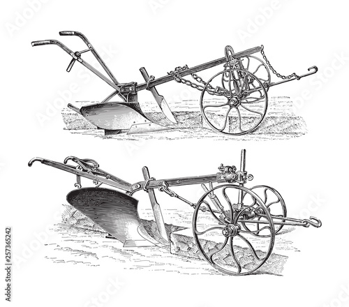 Photo Old ploughs (made in Germany) / vintage illustration from Meyers Konversations-L