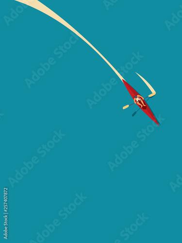 Carta da parati Man in canoe or kayak paddling in water, summer holiday vector concept