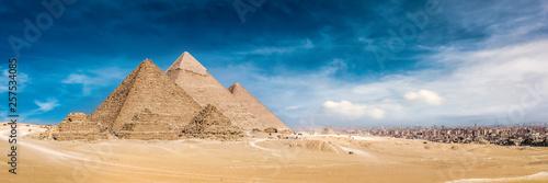 Obraz na plátně Panorama of the Great Pyramids of Giza, Egypt