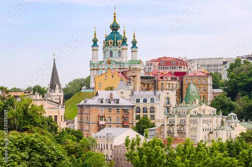 Wallpaper Mural Top view of Saint Andrew's church and Andriivska street from above, Kiev (Kyiv), Ukraine