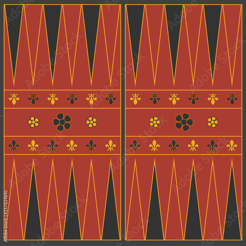 Backgammon playing field in the medieval style. Vector graphics. Fototapeta
