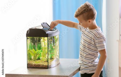 Cute little boy feeding fish in aquarium Fototapeta