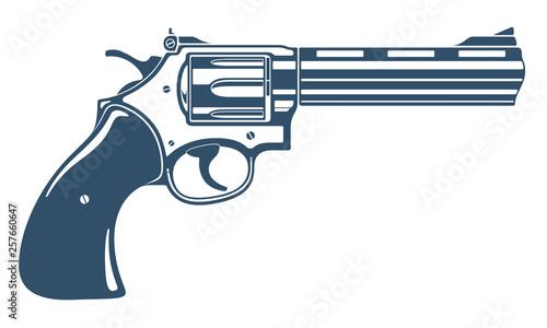 Fotografia Revolver gun vector illustration, detailed handgun isolated on white background