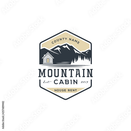 Fotomural Mountain view with cabin for family village house rent