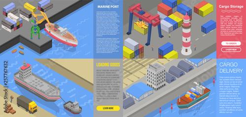 Fotografia, Obraz Modern marine port banner set