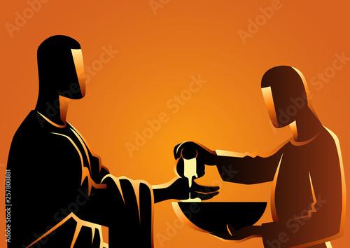 Obraz na plátně Pilate washing his hands