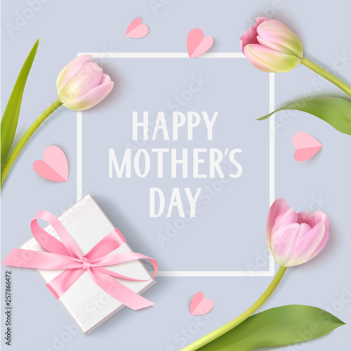 Happy Mothers Day. Spring holiday design template with pink tulip white gift box and paper hearts on blue background. #257866472