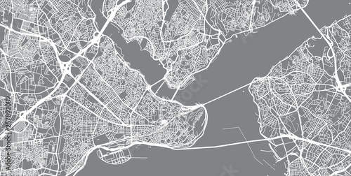 Fototapeta Urban vector city map of Istanbul, Turkey
