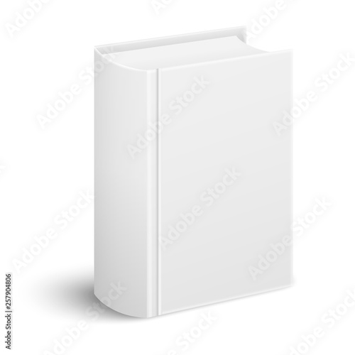 Closed realistic thick book standing cover and spine to the viewer in perspective view isolated on white background Fototapeta