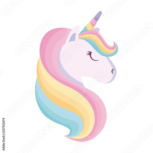 Obraz na płótnie head of cute unicorn isolated icon